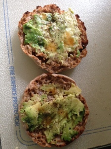 Whole Wheat English Muffin with Avocado, Salt, Pepper, Lime Juice, and a Dash of Hot Sauce