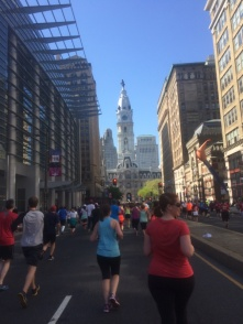 About halfway through the run. City Hall, the midpoint, is straight ahead.